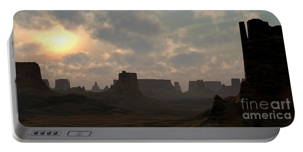 Desert Portable Battery Charger featuring the digital art Desert Morning by Richard Rizzo