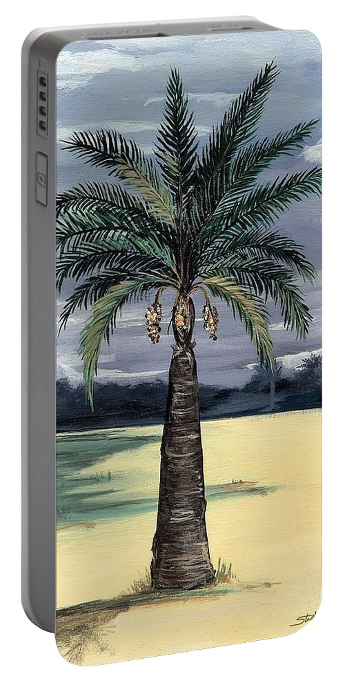 Desert Portable Battery Charger featuring the painting Desert Palm 2 by Stephen Broussard