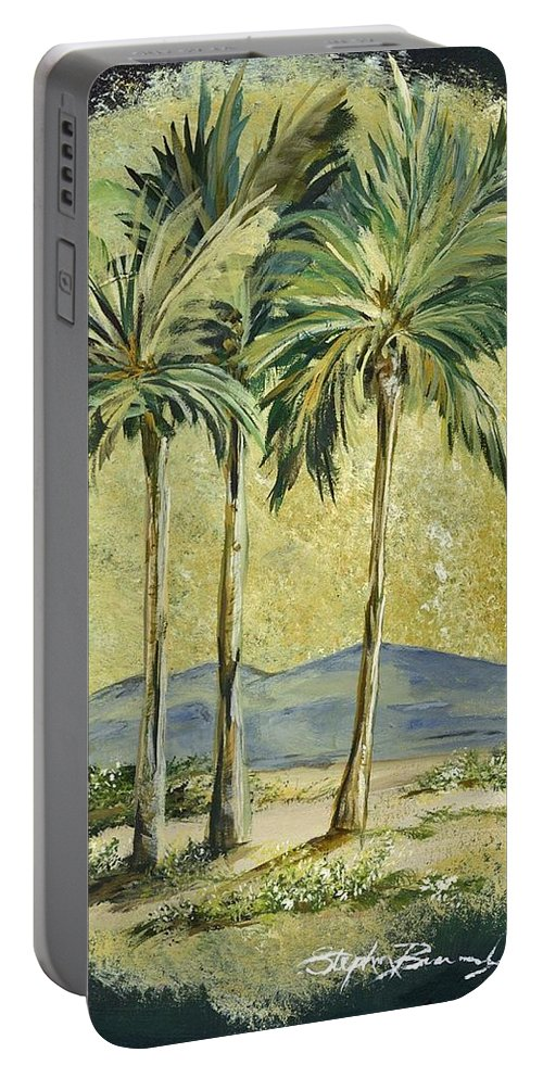 Desert Portable Battery Charger featuring the painting Desert Palm by Stephen Broussard