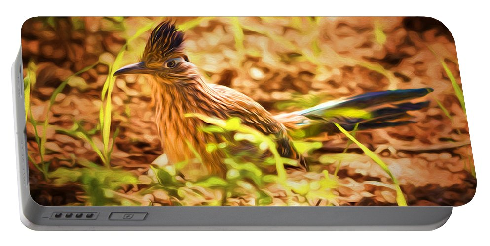 Roadrunner Portable Battery Charger featuring the photograph Desert Runner by Susan Rissi Tregoning