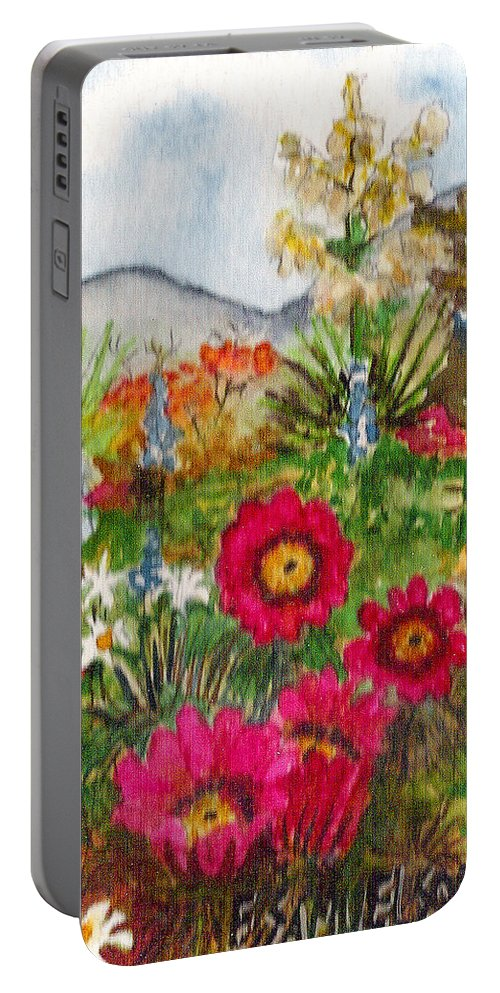 Spring Flowers Portable Battery Charger featuring the painting Desert Spring by Eric Samuelson