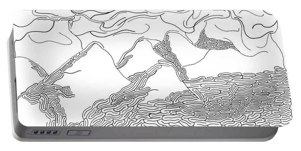 Mazes Portable Battery Charger featuring the drawing Desert Storm by Steven Natanson