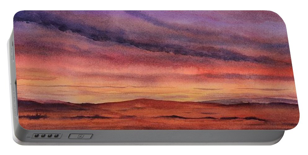 Desert Portable Battery Charger featuring the painting Desert Sunset by Ruth Kamenev