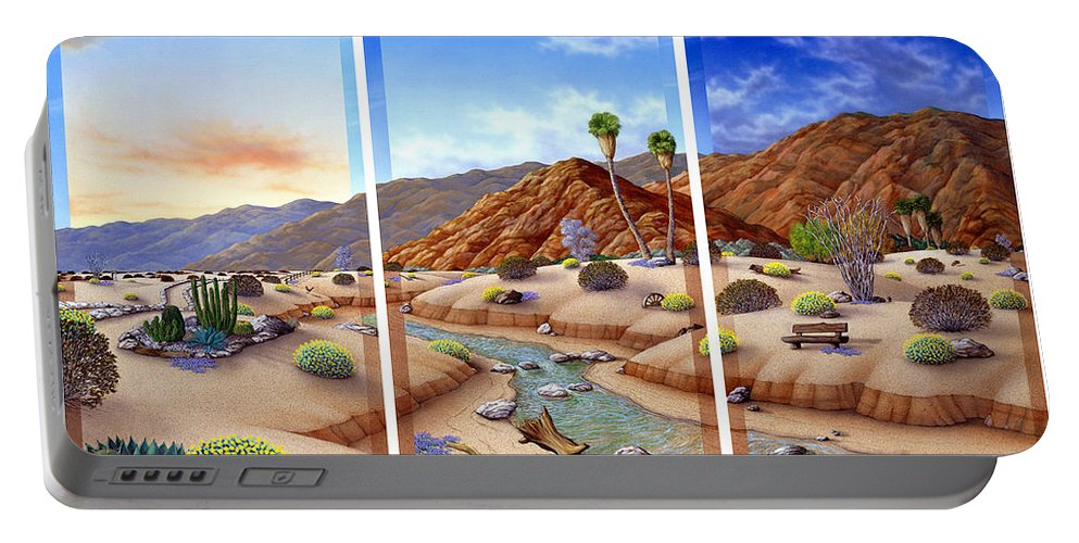 Landscape Portable Battery Charger featuring the painting Desert Vista by Snake Jagger