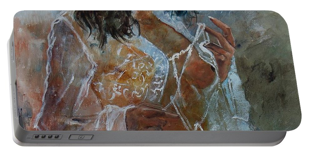 Nude Portable Battery Charger featuring the painting Deshabille 67 by Pol Ledent