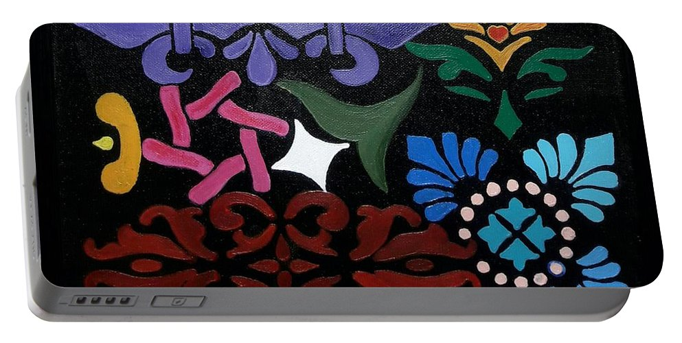 Acrylic Portable Battery Charger featuring the painting Design Amalgam by Sarandha D L