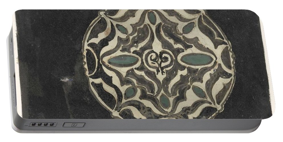 Pattern Portable Battery Charger featuring the painting Design For A Brooch , Carel Adolph Lion Cachet, 1874 - 1945 by Carel Adolph Lion Cachet