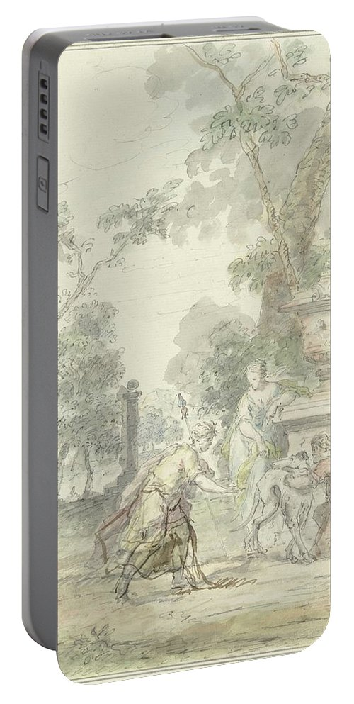Nature Portable Battery Charger featuring the painting Design For A Room Piece Dorinda Returns Silvio His Dog, Dionys Van Nijmegen, 1715 - 1798 by Dionys van Nijmegen