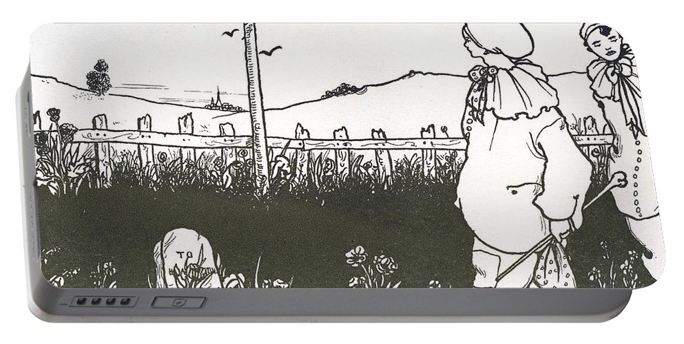 Clown Portable Battery Charger featuring the drawing Design For End Paper Of Pierrot by Aubrey Beardsley