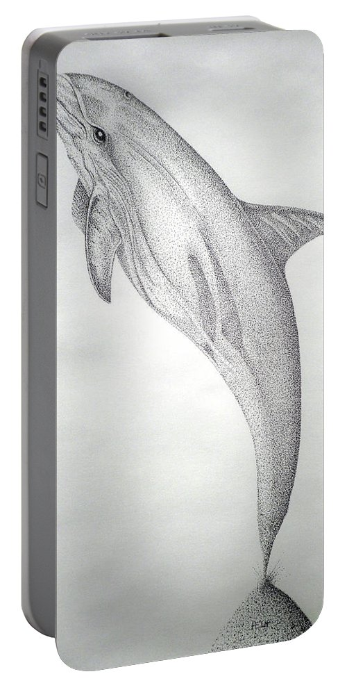 Dolphin Paintings Portable Battery Charger featuring the drawing Desintigrating Porpoise by Mayhem Mediums
