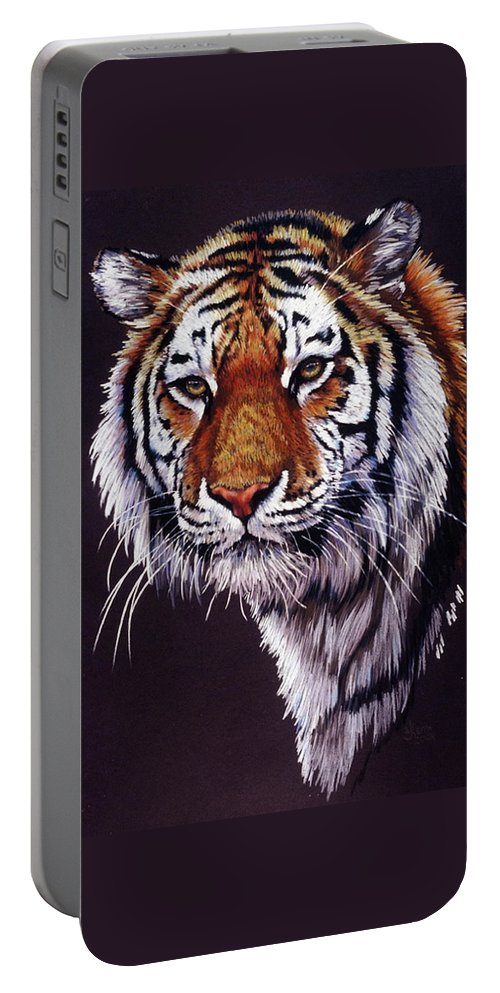 Tiger Portable Battery Charger featuring the drawing Desperado by Barbara Keith