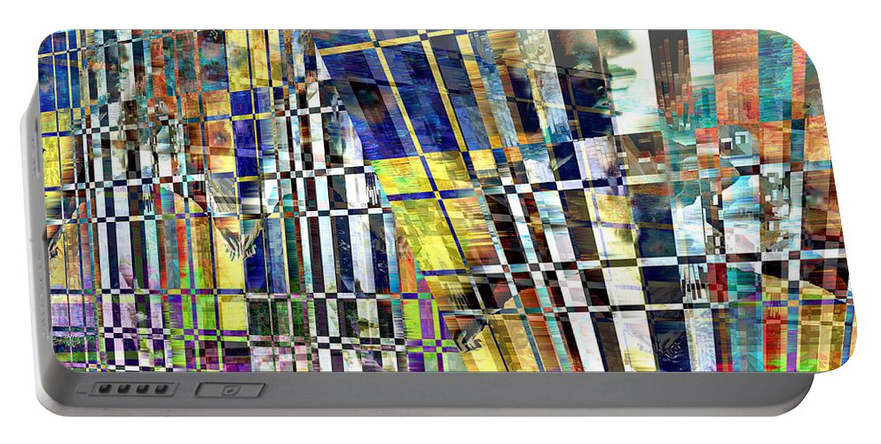 Abstract Portable Battery Charger featuring the digital art Desperate Reflections by Seth Weaver