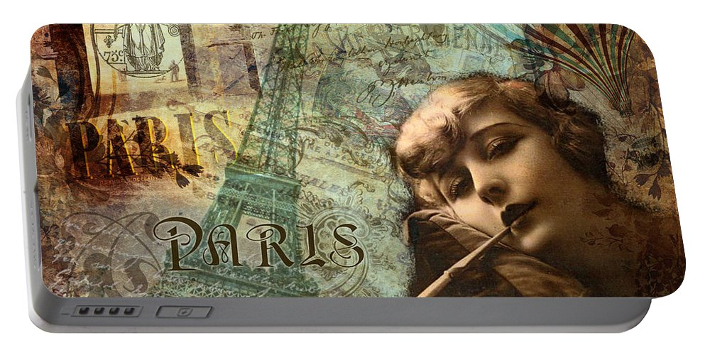 Paris Portable Battery Charger featuring the painting Destination Paris by Mindy Sommers