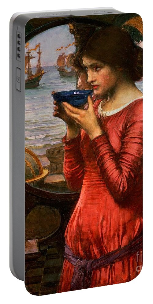 Boat; Globe; Poison; Blue Glass; Pre-raphaelite; Allegorical; Red Dress Portable Battery Charger featuring the painting Destiny by John William Waterhouse