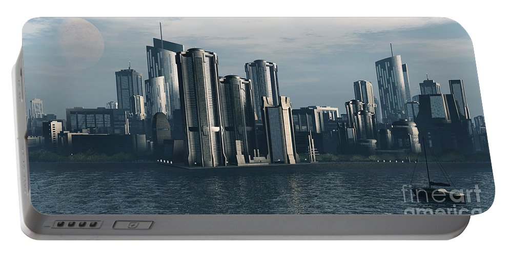 Futurism Portable Battery Charger featuring the digital art Destiny by Richard Rizzo