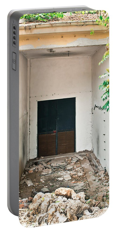 Abandoned Portable Battery Charger featuring the photograph Destroyed Building by Tom Gowanlock
