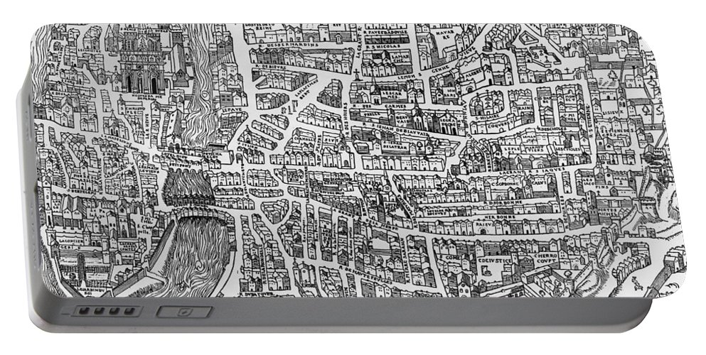 Maps Portable Battery Charger featuring the photograph Detail From A Map Of Paris In The Reign Of Henri II Showing The Quartier Des Ecoles by French School