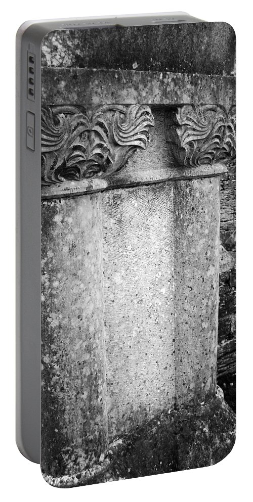 Irish Portable Battery Charger featuring the photograph Detail Of Capital Of Cloister At Cong Abbey Cong Ireland by Teresa Mucha