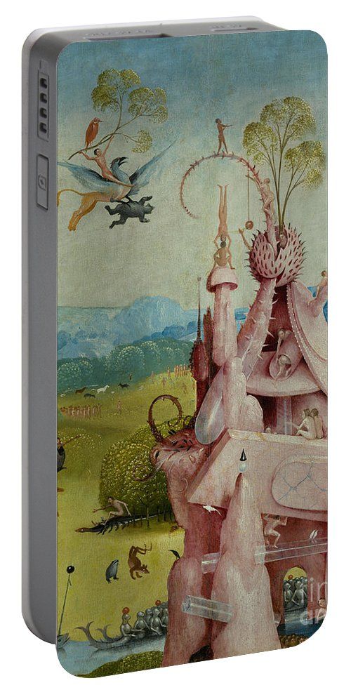 Central Panel Portable Battery Charger featuring the painting Detail Of Central Panel The Garden Of Earthly Delights by Hieronymus Bosch