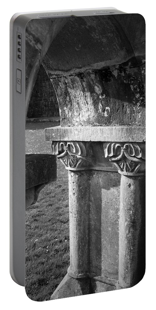 Irish Portable Battery Charger featuring the photograph Detail Of Cloister At Cong Abbey Cong Ireland by Teresa Mucha