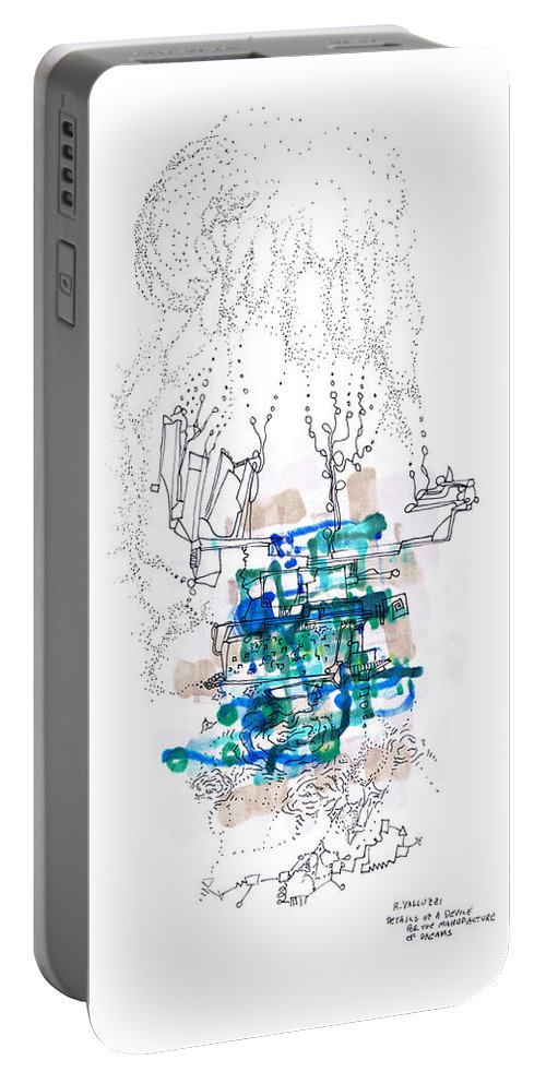 Dreams Portable Battery Charger featuring the drawing Details Of A Device For The Manufacture Of Dreams by Regina Valluzzi