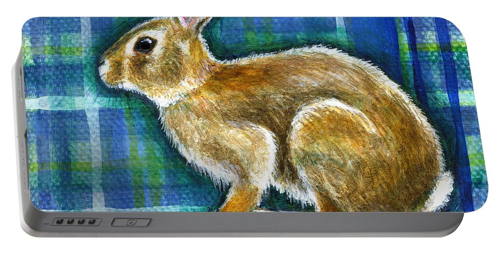 Rabbit Portable Battery Charger featuring the painting Determined by Retta Stephenson