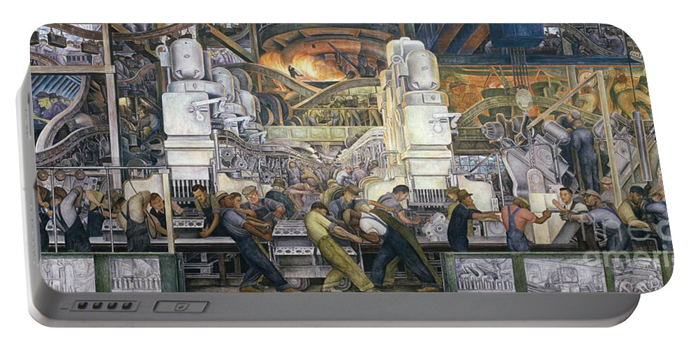 Machinery; Factory; Production Line; Labour; Worker; Male; Industrial Age; Technology; Automobile; Interior; Manufacturing; Work; Detroit Industry Portable Battery Charger featuring the painting Detroit Industry  North Wall by Diego Rivera