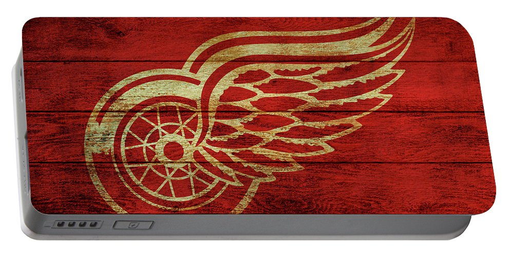 Detroit Redwings Barn Door Portable Battery Charger featuring the mixed media Detroit Redwings Barn Door by Dan Sproul
