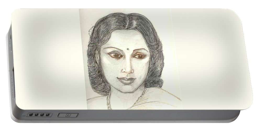 Portable Battery Charger featuring the drawing Devika Rani - Svetoslav Roerich by Asha Sudhaker Shenoy