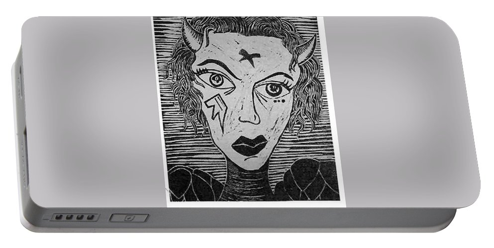 Prints Portable Battery Charger featuring the print Devil Print Two Out Of Five by Thomas Valentine