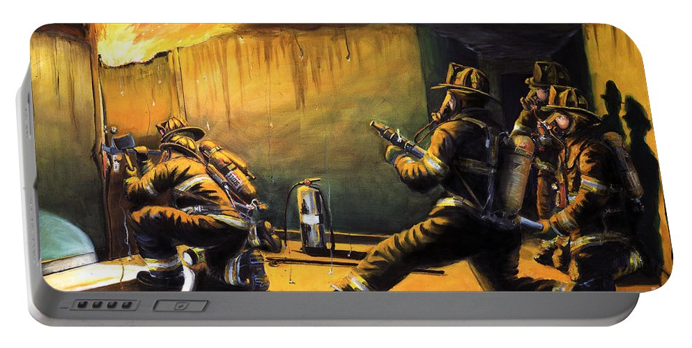 Firefighting Portable Battery Charger featuring the painting Devil's Doorway II by Paul Walsh