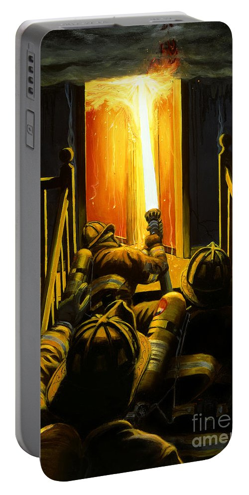 Firefighting Portable Battery Charger featuring the painting Devil's Stairway by Paul Walsh