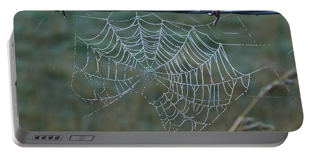 Spider Portable Battery Charger featuring the photograph Dew On The Web by Douglas Barnett