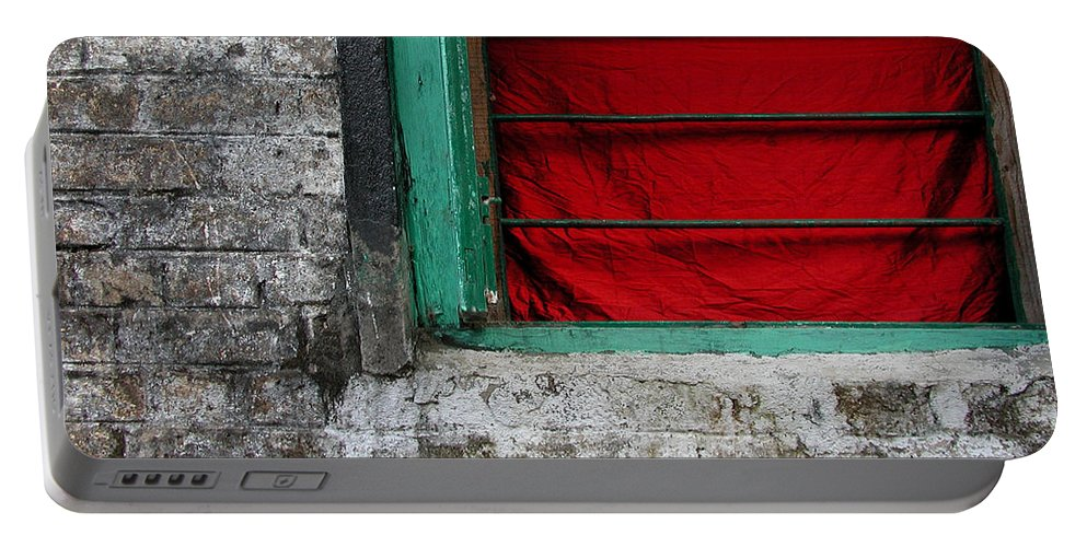 Red Portable Battery Charger featuring the photograph Dharamsala Window by Skip Hunt