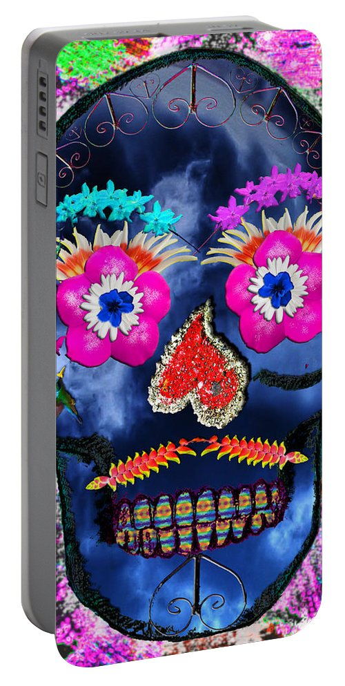 Skull Portable Battery Charger featuring the mixed media Dia De Los Muertos by Dolly Sanchez