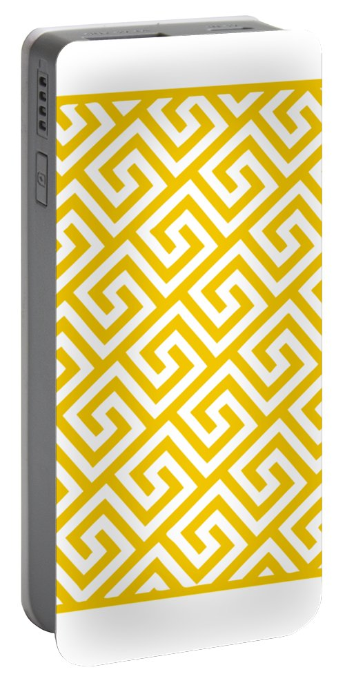 Diagonal Greek Key Portable Battery Charger featuring the digital art Diagonal Greek Key With Border In Mustard by Custom Home Fashions