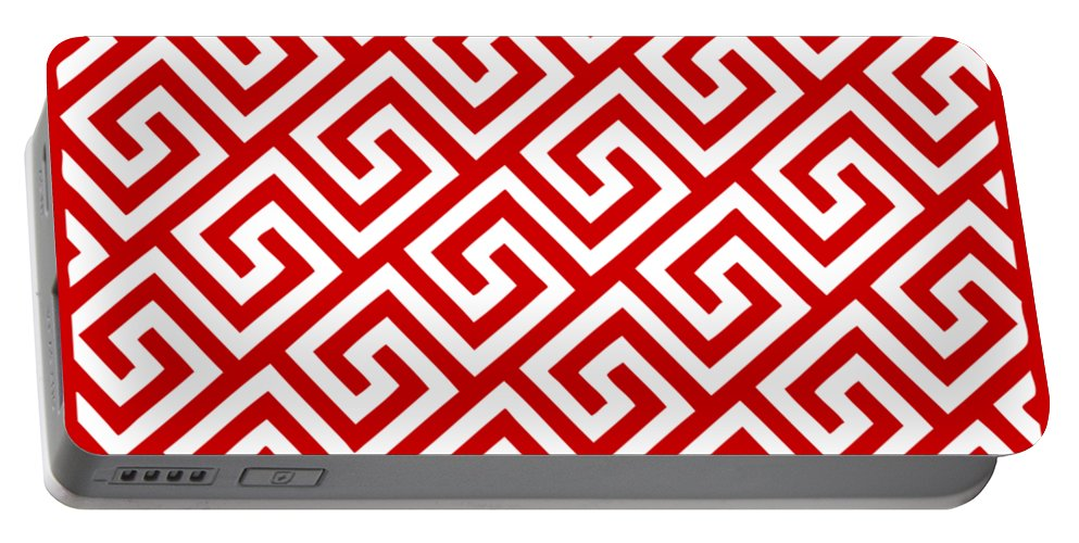 Diagonal Greek Key Portable Battery Charger featuring the digital art Diagonal Greek Key With Border In Red by Custom Home Fashions