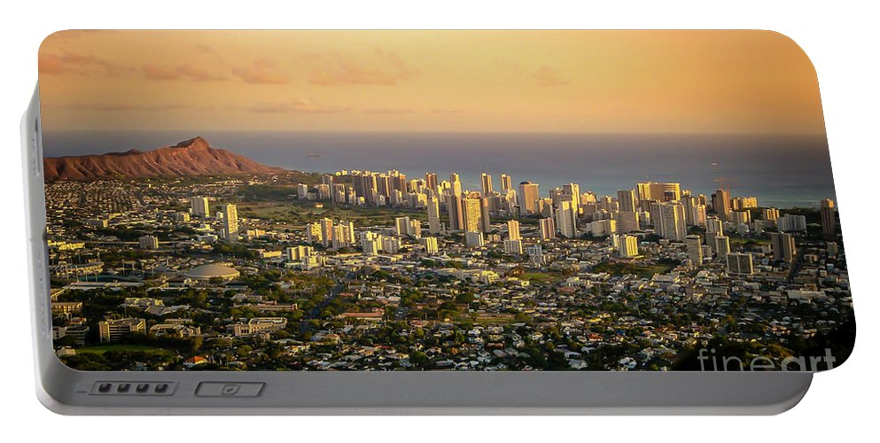 Diamondhead Portable Battery Charger featuring the photograph Diamondhead -- Jewel Of Oahu by TK Goforth