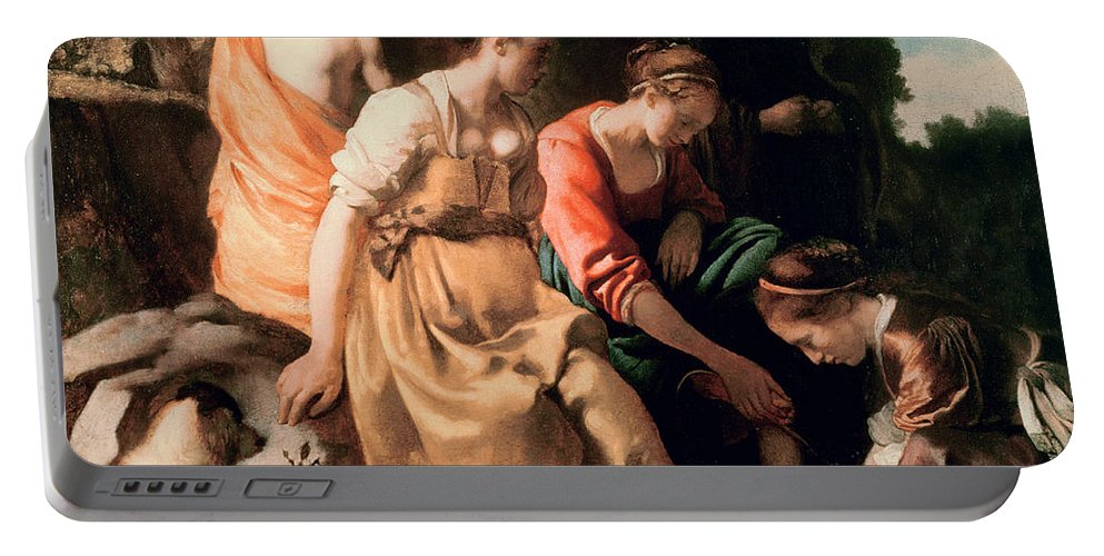 Diana And Her Companions Portable Battery Charger featuring the painting Diana And Her Companions by Jan Vermeer