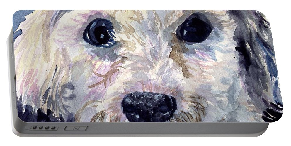 Bichon Frise Portable Battery Charger featuring the painting Did You Say Lunch by Sharon E Allen