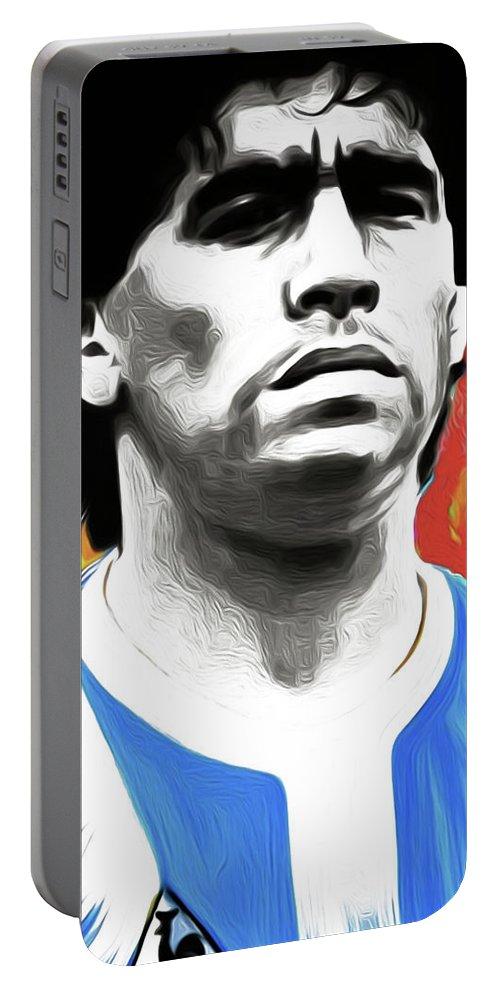 Diego Maradona Portable Battery Charger featuring the painting Diego Maradona By Nixo by Nicholas Efthimiou