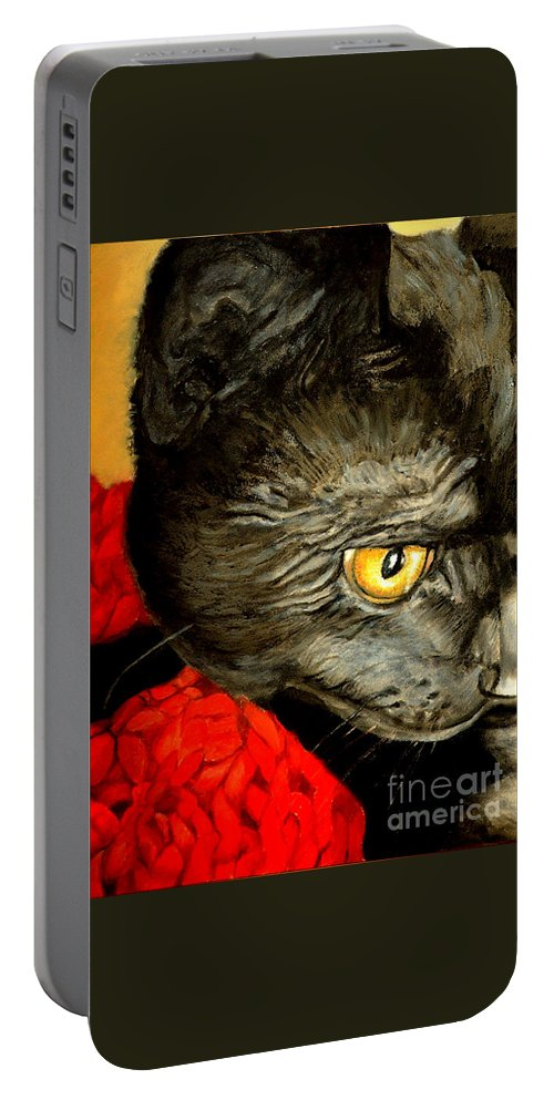 Animal Painting Portable Battery Charger featuring the painting Diego The Cat by Portraits By NC