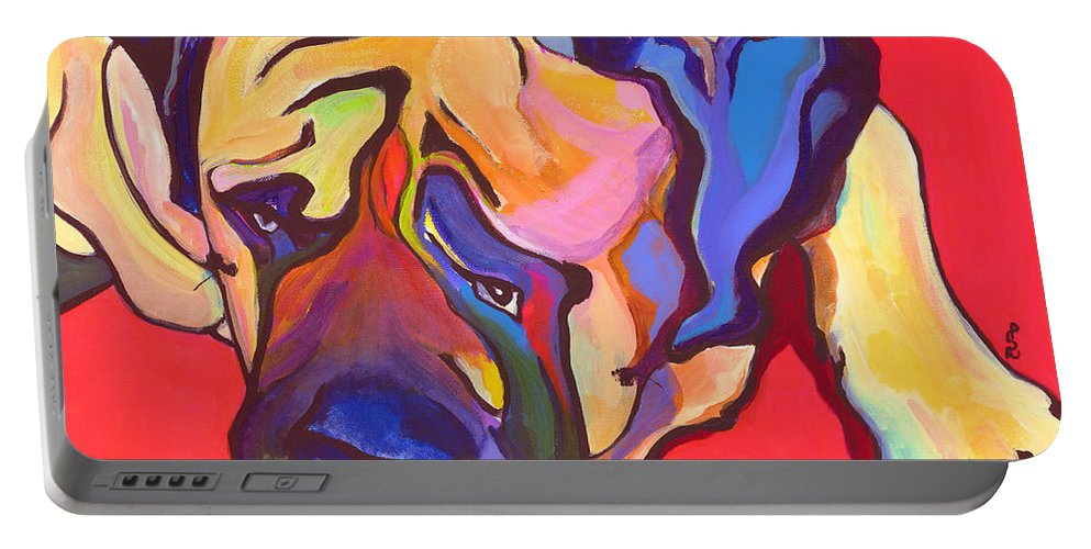 Mastiff Portable Battery Charger featuring the painting Diesel  by Pat Saunders-White