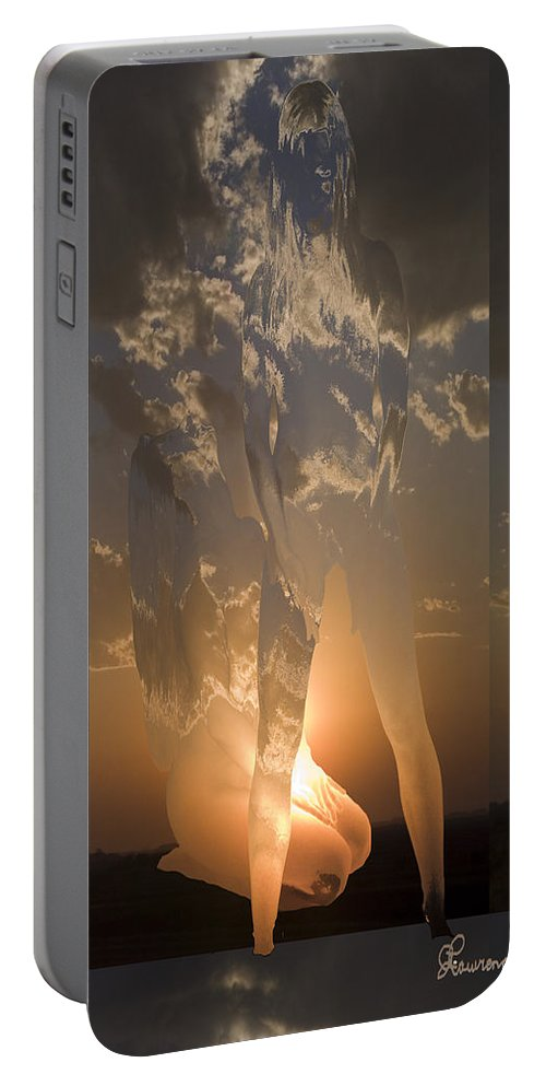 Sky Clouds Woman Girl Lady Abstract Nude Portable Battery Charger featuring the photograph Diffusion by Andrea Lawrence