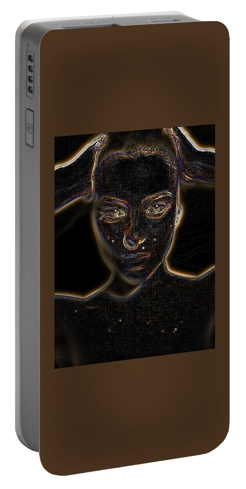 Abstrace Portable Battery Charger featuring the digital art Dig Face by Katherine Pearson