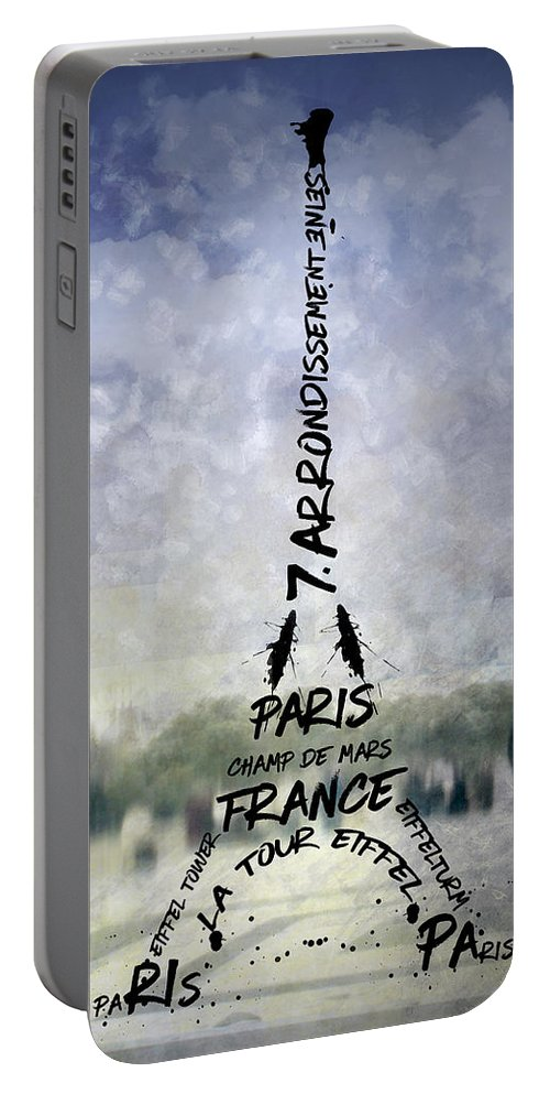 Abstract Portable Battery Charger featuring the photograph Digital-art Paris Eiffel Tower No 1 by Melanie Viola