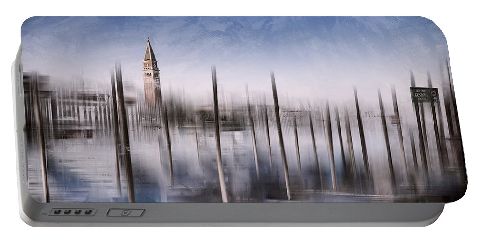 Abstract Portable Battery Charger featuring the photograph Digital-art Venice Grand Canal And St Mark's Campanile by Melanie Viola