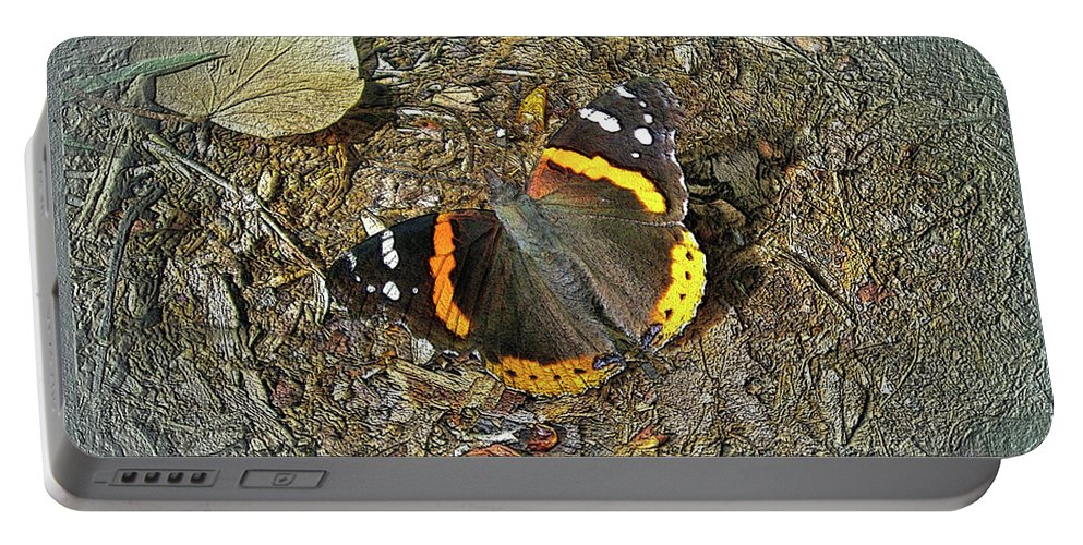 Butterfly Portable Battery Charger featuring the photograph Digital Red Admiral Butterfly - Vanessa Atalanta by Mother Nature