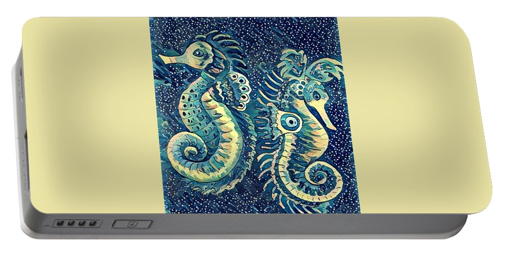 Sea Horses Portable Battery Charger featuring the painting Digital Water Horse 3 by Megan Walsh