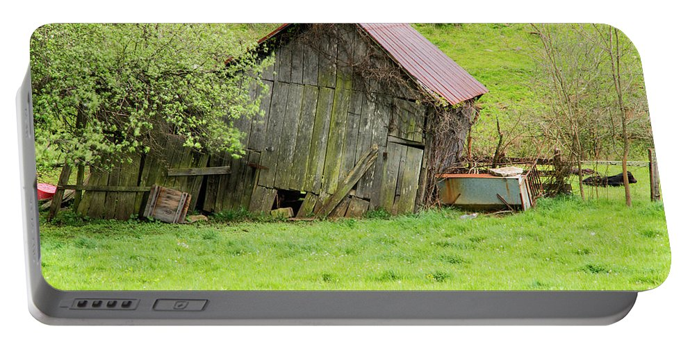 New Castle Virginia Barn Barns Structure Structures Building Buildings Architecture Ruin Ruins Landscape Landscapes Portable Battery Charger featuring the photograph Dilapidated by Bob Phillips